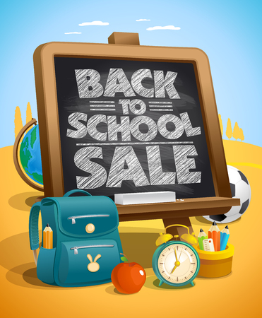 Back to school sale poster concept with chalkboard and school tools Ilustração