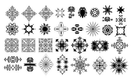 Set of tattoo elements. Çizim