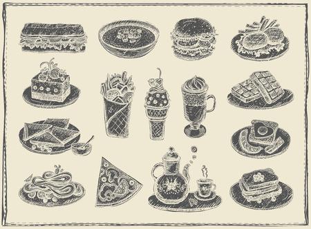 手には、各種ヴィンテージ食品、デザートやドリンクの図が描かれました。