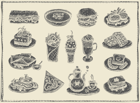 Hand drawn graphic illustration of assorted  vintage food, desserts and drinks.