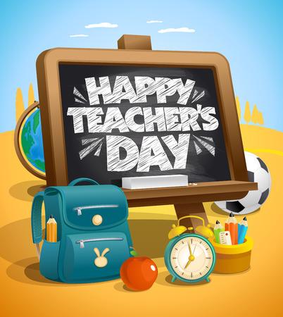 Glückliche Lehrer `s Tagvektorillustration Standard-Bild - 85354261