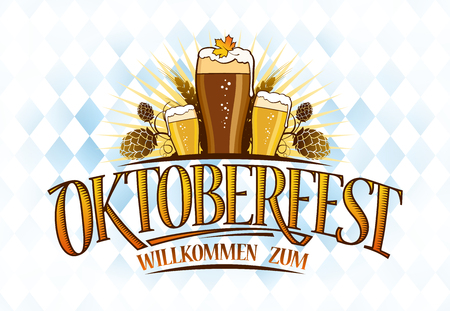 Oktoberfest banner design with three glasses of beer