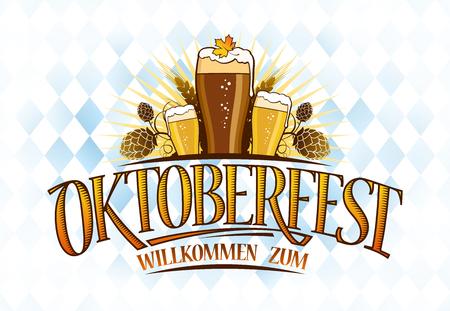 Diseño de banner Oktoberfest con tres vasos de cerveza