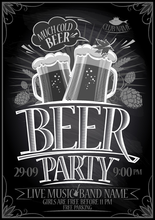 Chalkboard beer party poster, copy space for text Ilustração