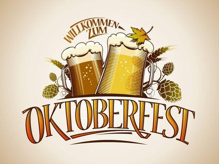 Oktoberfest sign or logo design with glasses of beer and hop