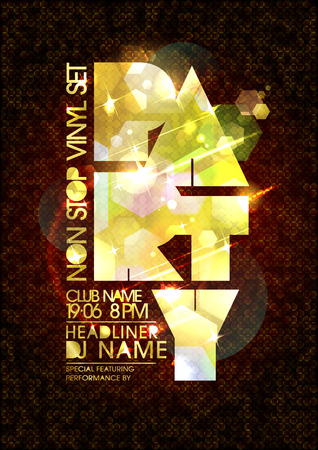 Vector party poster, golden mosaic letters, copy space for text