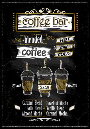Coffee bar menu chalkboard design.