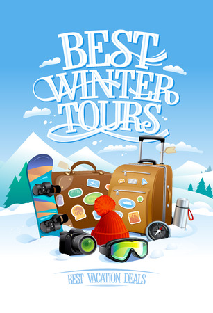 Best winter tours design concept with suitcases, snowboard and camera, against ski resort on a backdrop