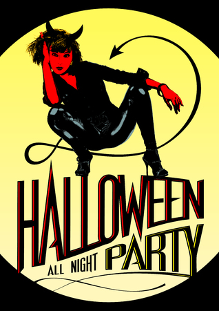 Devil woman - all night party design for Halloween.