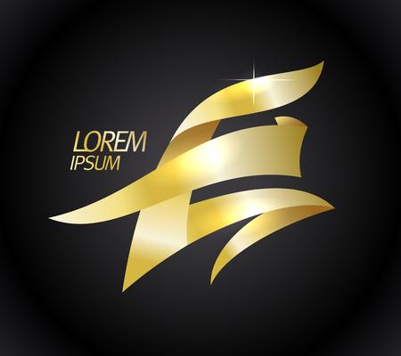 Golden E letter logo concept Illustration