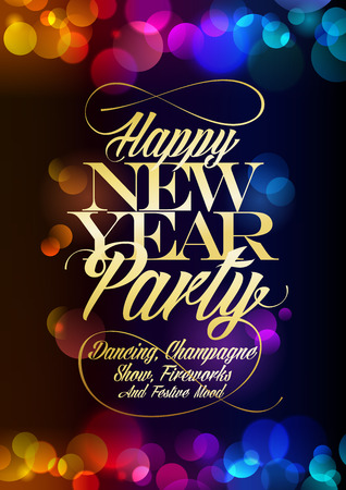 Happy New Year party poster design concept, multicolored confetti bokeh lights and golden title