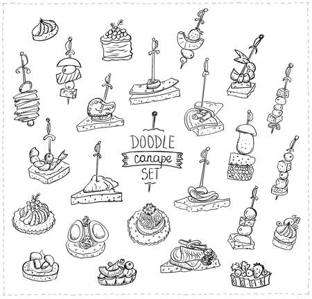Dibujado a mano ilustración vectorial doodle con canapés y sándwiches Foto de archivo - 87006688