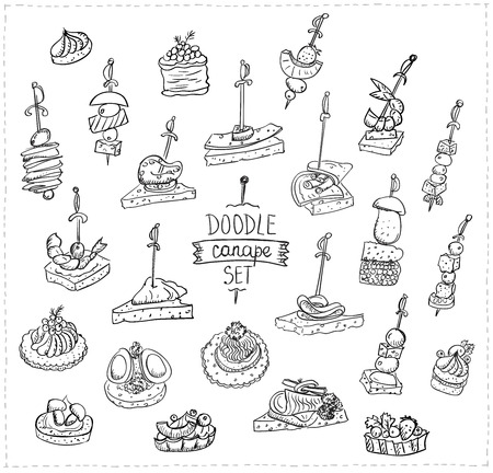 Hand drawn vector doodle illustration with canapes and sandwiches Ilustração