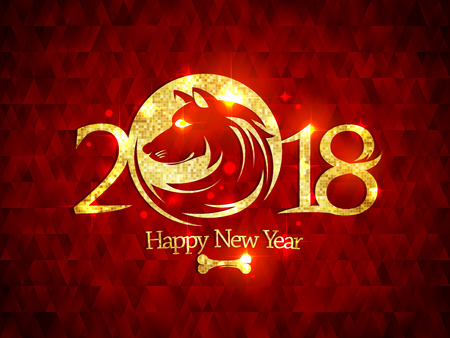 2018 Happy new year card with golden dog silhouette against rich deep red mosaic backdrop