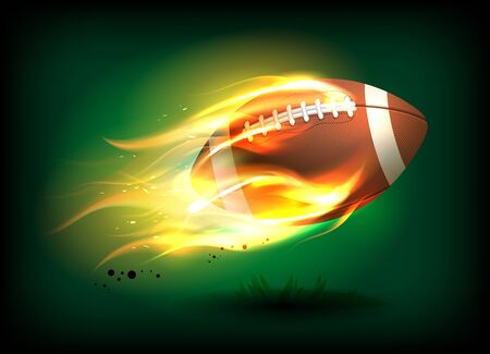 Vector illustration of an old classic leather rugby ball with laces and stitching in a fiery flame, sport success concept Illustration