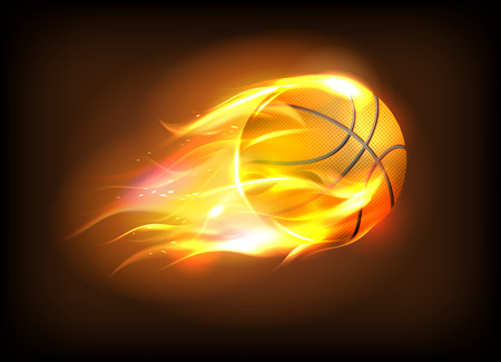 Vector illustration of a realistic basketball ball in a fiery flame, sport success concept