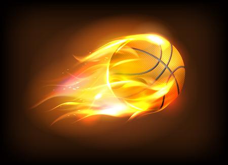 Vector l'illustrazione di una palla di pallacanestro realistica in una fiamma ardente, concetto di successo di sport