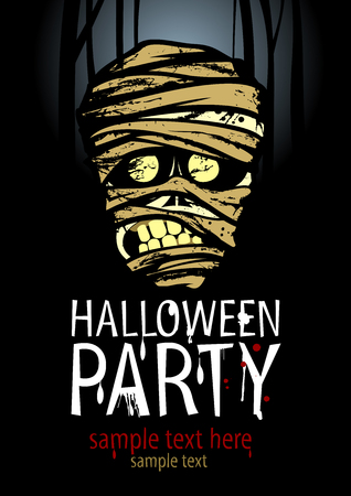 ハロウィン パーティーのポスターにミイラとテキストのための場所  イラスト・ベクター素材