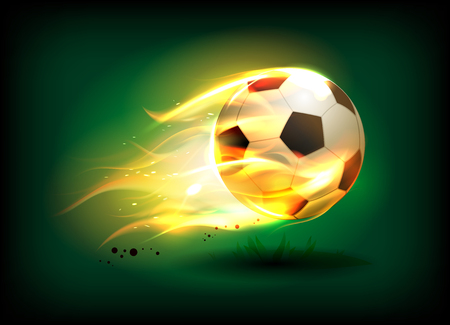 Vector illustration of a football, soccer ball in a fiery flame on a green field, sport success concept