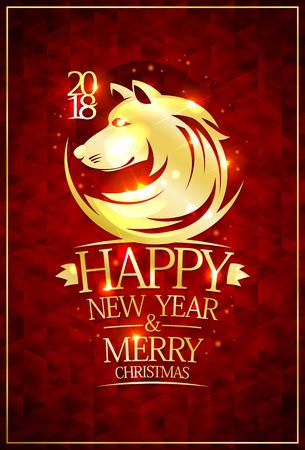 2018 feliz año nuevo y feliz navidad tarjeta con silueta de oro del zodiaco contra el fondo rojo del lago congelado