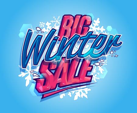 Big winter sale poster or banner concept Illustration