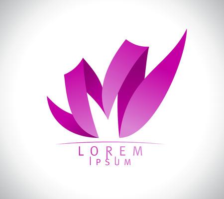蓮の花の形での女性 M 文字ロゴ コンセプトはかわいい