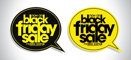 블랙 friday 판매 연설 거품, 할인 표지판 설정 일러스트