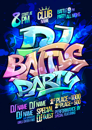 Dj battle party poster design concept, graffiti style
