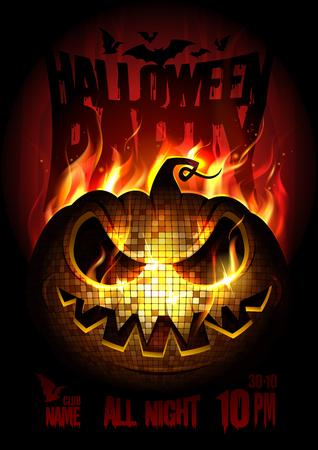 Conceito de design de cartaz de festa de Halloween com queimando a abóbora com raiva, chama de fogo, cópia espaço para texto