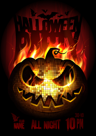 Halloween party poster design concept with burning angry pumpkin, fire flame, copy space for text Çizim