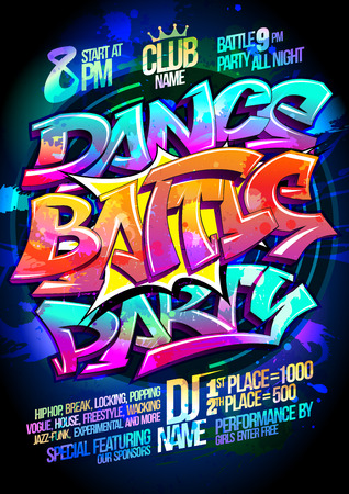 Dance battle party poster design concept Ilustrace