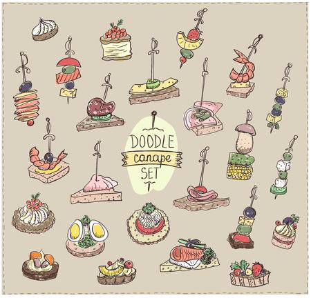 Doodle vectorillustratie met canapeetjes en broodjes, vintage kleuren Stock Illustratie