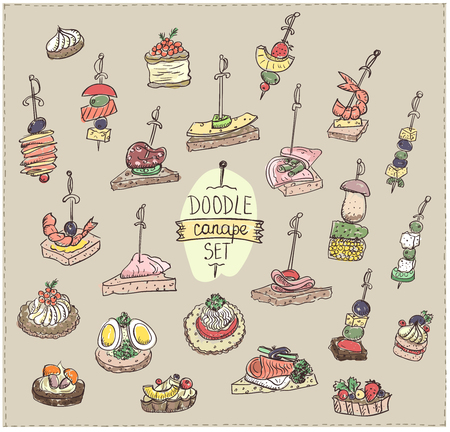 Doodle vector illustration with canapes and sandwiches, vintage colors