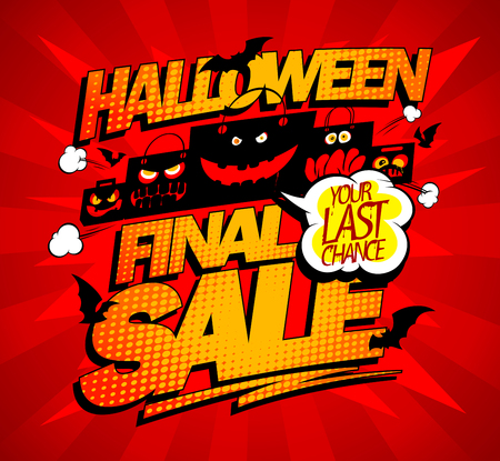 Halloween final sale advertising concept with scary paper bags Ilustração