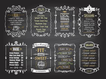 87432029 snacks salads desserts soups lokal wines and tea chalkboard menu list designs set hand drawn graphic illustration