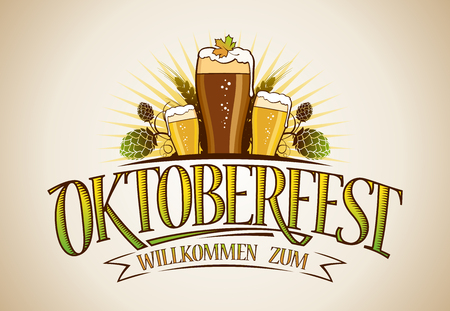 Oktoberfest logo sign design cocnept with glasses of beer and hop Çizim