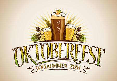 Oktoberfest Logo Zeichen Design Cocnept mit Gläsern Bier und Hopfen Standard-Bild - 87432031
