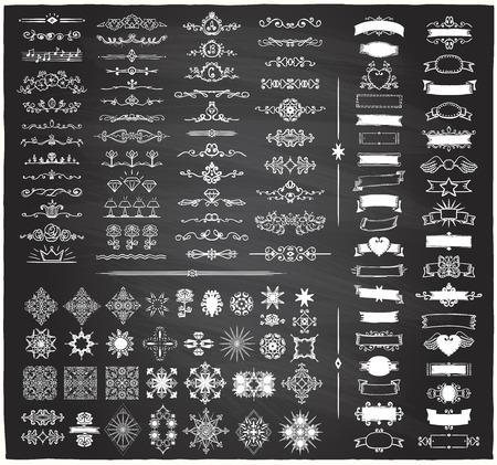 Chalk retro graphic line elements, dividers and monogram frames, ribbons set on a blackboard, hand drawn vector illustration Ilustração