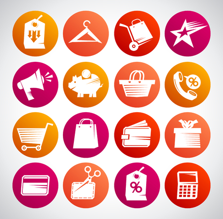 Set of web icons for shopping, business, finance and communication Illustration