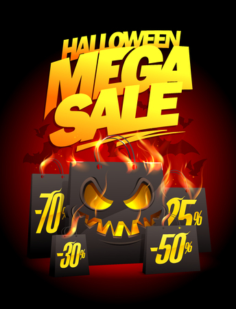 Halloween mega sale vector poster design with burning scary paper bags Illustration