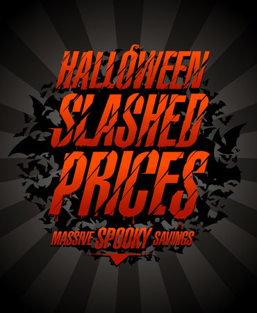 Halloween slashed prices, massive spooky savings. Halloween sale poster concept Ilustração