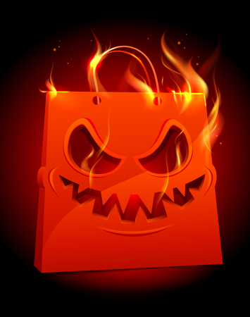 Burning scary red paper bag, halloween sale vector poster concept Illustration