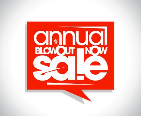 Annual blowout sale poster concept, speech bubble banner