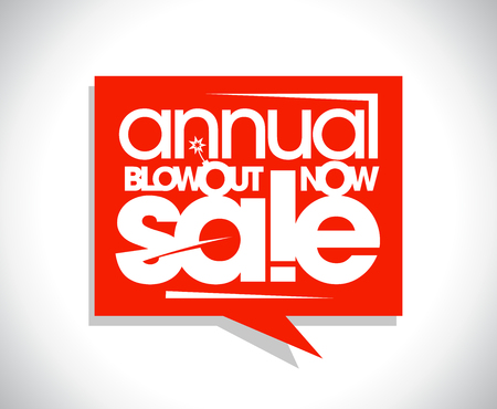 Annual blowout sale poster concept, speech bubble banner