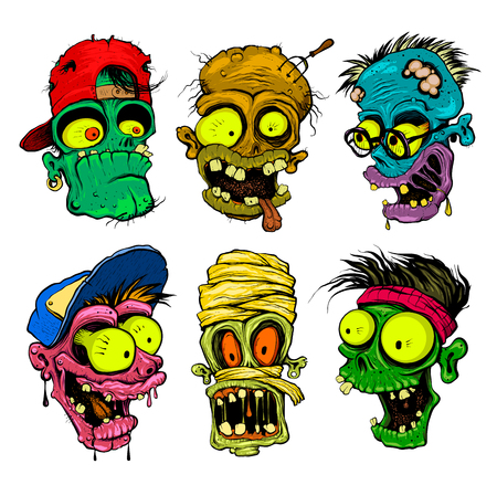 Zombie and mummy head vector illustration.
