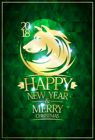 2018 Happy new year and merry Christmas card with golden dog portrait.
