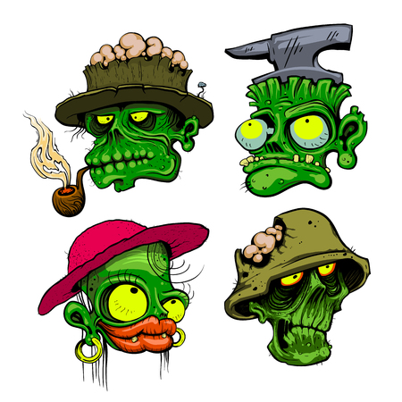 Zombie heads detailed vector illustration. Иллюстрация
