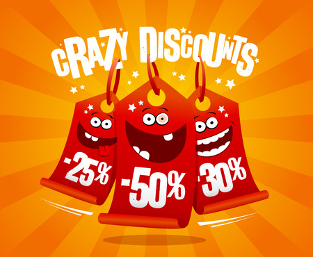 Crazy discounts banner with madness smiling vector illustration.