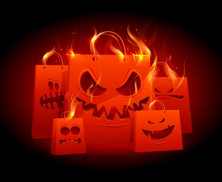 Burning evil red paper bags Halloween design vector illustration.