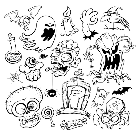 Hand-drawn Halloween graphic symbols ink collection.